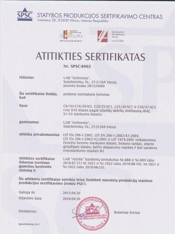 Betono sertifikatas
